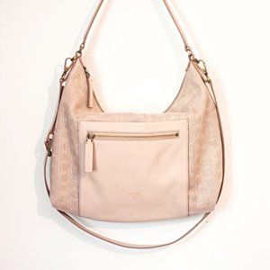 Fossil Dusty Rose Woven Leather Hobo Bag